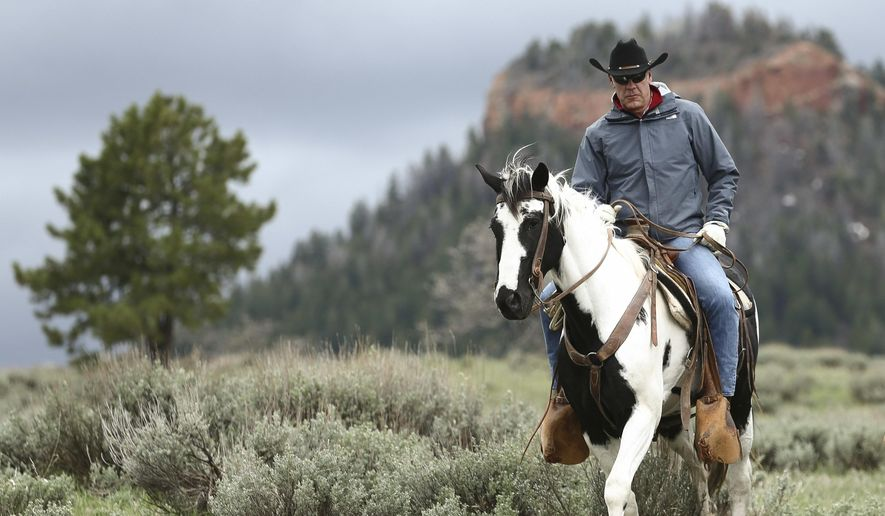 Interior Secretary Ryan Zinke rides in the Bears Ears National Monument with local and state representatives in Blanding, Utah, on May 9, 2017. (Scott G Winterton/The Deseret News via AP) **FILE**