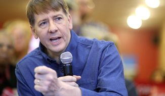 "Former director of the Consumer Financial Protection Bureau Richard Cordray announces he is a Democratic candidate for Ohio governor Tuesday, Dec. 5, 2017, at ""Lilly's Kitchen Table"" Restaurant in Grove City, Ohio. Cordray chose his hometown of Grove City for his announcement. (Brooke LaValley/The Columbus Dispatch via AP)"