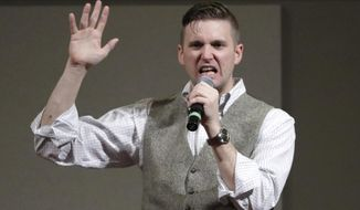 In this Dec. 6, 2016, file photo, Richard Spencer speaks at the Texas A&M University campus in College Station, Texas.  (AP Photo/David J. Phillip, File)