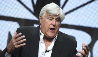 "In this Aug. 13, 2015, file photo, Jay Leno participates in the ""Jay Leno's Garage"" panel at the The NBCUniversal Summer TCA Tour at the Beverly Hilton Hotel in Beverly Hills, Calif. (Photo by Richard Shotwell/Invision/AP, File)"
