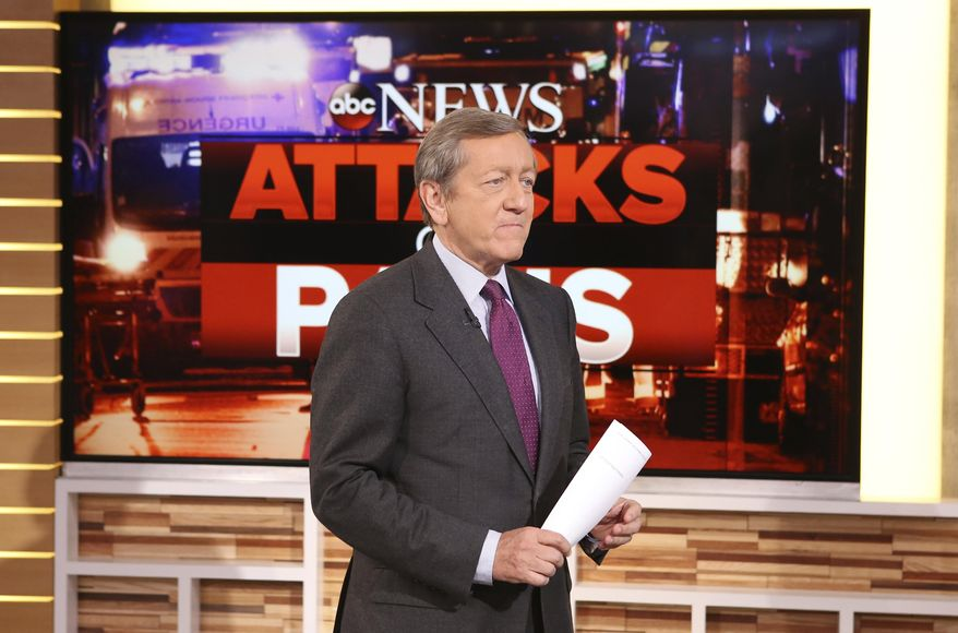In this Nov. 16, 2015, file photo, provided by ABC, correspondent Brian Ross speaks on 'Good Morning America,' which airs on the ABC Television Network, in New York. Ross will no longer cover stories involving President Donald Trump following his erroneous report last Friday, Dec. 1, 2017, on former national security adviser Michael Flynn. (Fred Lee/ABC via AP, File) **FILE**