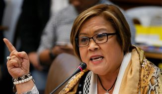 "Filipino Sen. Leila de Lima, an outspoken critic of firebrand populist President Rodrigo Duterte, has been in jail since February, but that hasn't stopped her crusade to draw attention to what she calls ""flagrant"" rights abuses being carried out by the government in Manila. (Associated Press)"