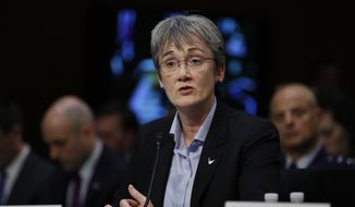 Air Force Secretary Heather Wilson testifies during a Senate Judiciary Committee hearing on Capitol Hill in Washington, Wednesday, Dec. 6, 2017. (AP Photo/Carolyn Kaster)