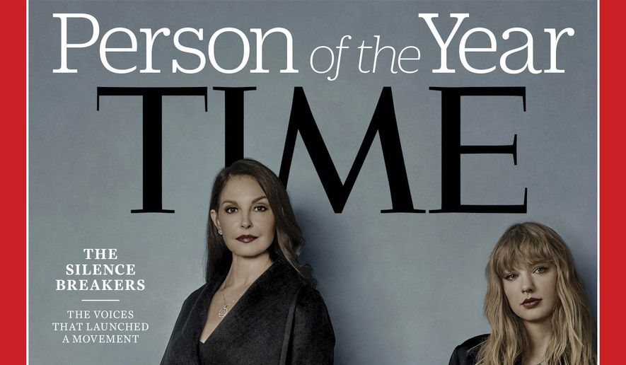 "This image provided by Time magazine, shows the cover of the magazine's Person of the Year edition as ""The Silence Breakers,"" those who have shared their stories about sexual assault and harassment. The magazine's cover features Ashley Judd, Taylor Swift, Susan Fowler and others who say they have been harassed. (Time Magazine via AP)"