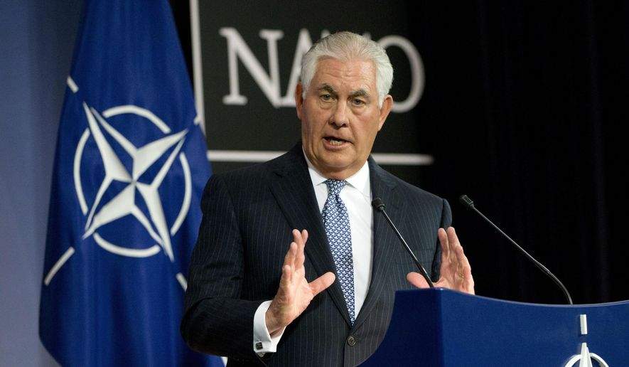 U.S. Secretary of State Rex Tillerson speaks during a media conference at NATO headquarters in Brussels on Wednesday, Dec. 6, 2017. (AP Photo/Virginia Mayo)