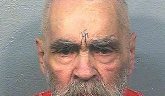 FILE -- This Aug. 14, 2017 photo provided by the California Department of Corrections and Rehabilitation shows Charles Manson. A legal battle has arisen for his remains and belongings since his death Nov. 19 of natural causes at the age of 83. (California Department of Corrections and Rehabilitation via AP)