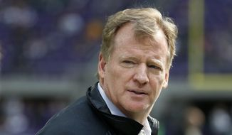 In this Oct. 15, 2017, file photo, NFL Commissioner Roger Goodell watches from the sidelines before an NFL football game between the Minnesota Vikings and Green Bay Packers in Minneapolis. (AP Photo/Bruce Kluckhohn, File) **FILE**