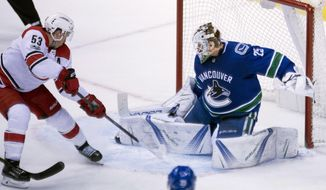 Vancouver Canucks goalie Jacob Markstrom (25) stops a shot from Carolina Hurricanes left wing Jeff Skinner (53) during the third period of an NHL hockey game Tuesday, Dec. 5, 2017, in Vancouver, British Columbia. (Jonathan Hayward/The Canadian Press via AP)