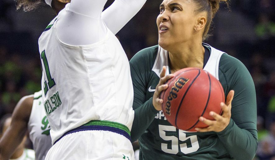Michigan State's Kennedy Johnson (55) looks for a shot as Notre Dame's Kristina Nelson (21) defends during the first half of an NCAA college basketball game Wednesday, Dec. 6, 2017, in South Bend, Ind. (AP Photo/Robert Franklin)