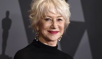 FILE - In this Nov. 11, 2017 file photo, Helen Mirren arrives at the 9th annual Governors Awards in Los Angeles. Mirren will be the recipient of the Career Achievement Award for AARP's Movies for Grownups Awards.The 17th annual Movies for Grownups Awards will premiere on PBS on Feb. 23.  (Photo by Jordan Strauss/Invision/AP, file)