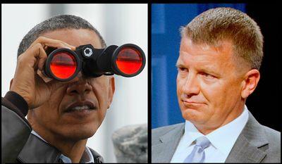 Former President Barack Obama and former Blackwater USA boss Erik Prince.