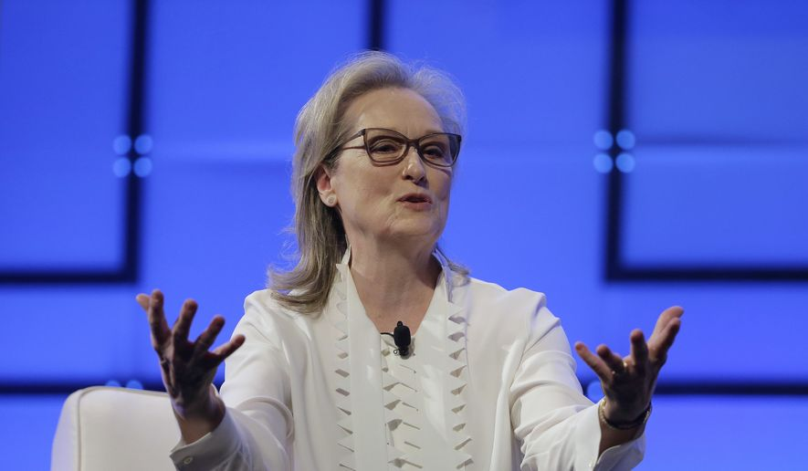 Academy Award-winning actress Meryl Streep speaks, Thursday, Dec. 7, 2017, during the 13th annual Massachusetts Conference for Women, in Boston. The conference opened Thursday against a backdrop of expanding allegations of sexual misconduct against prominent men in Hollywood, politics and the media. (AP Photo/Steven Senne) ** FILE **