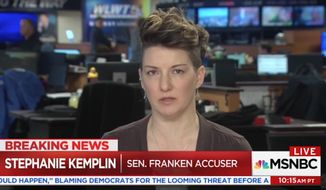 Stephanie Kemplin, an Army veteran who accused Sen. Al Franken of groping her breast during a 2003 photo-op, criticized the Minnesota Democrat's resignation speech Thursday for calling out President Trump and Roy Moore while refusing to admit to his own behavior. (MSNBC)