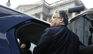 Sen. Al Franken, D-Minn., leaves the Capitol after speaking on the Senate floor, Thursday, Dec. 7, 2017, in Washington. Franken said he will resign from the Senate in coming weeks following a wave of sexual misconduct allegations and a collapse of support from his Democratic colleagues, a swift political fall for a once-rising Democratic star.  (AP Photo/Jacquelyn Martin)