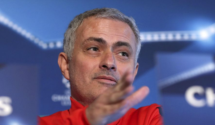 Manchester United manager Jose Mourinho  speaks during the press conference at the team's training complex in Manchester, England  Monday Dec. 4, 2017. United will play CSKA Moscow in a Champions League soccer match in Manchester on Tuesday. (Martin Rickett/PA via AP)
