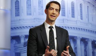 Rep. Tom Cotton, R-Ark., answers questions during an interview at the Associated Press bureau in Washington, Thursday, Dec. 7, 2017. (AP Photo/Jacquelyn Martin) ** FILE **