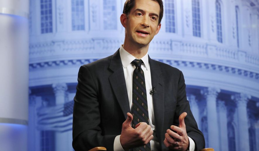 Rep. Tom Cotton, R-Ark., answers questions during an interview at the Associated Press bureau in Washington, Thursday, Dec. 7, 2017. (AP Photo/Jacquelyn Martin)