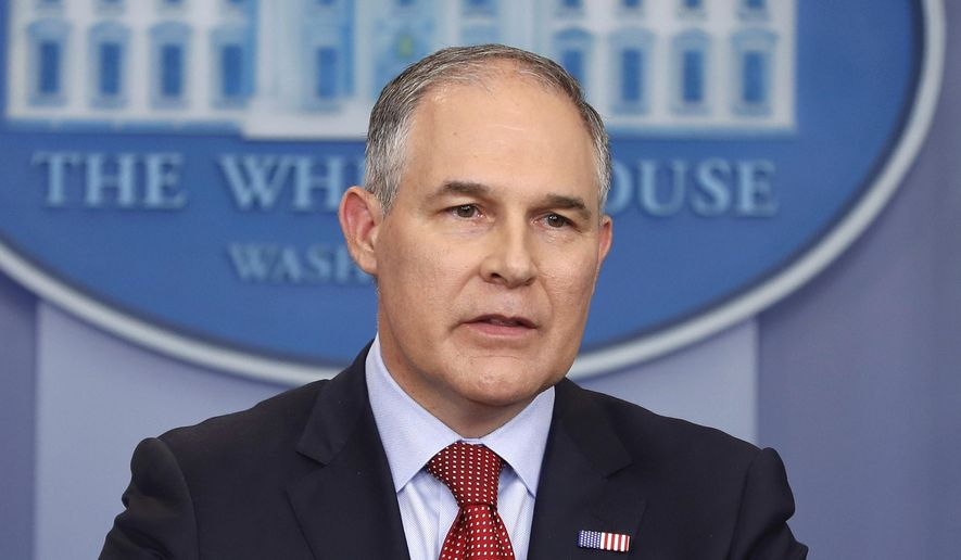 FILE - In this June 2, 2017 file photo, Environmental Protection Agency administrator Scott Pruitt speaks in the Brady Press Briefing Room of the White House in Washington. Pruitt defended his frequent taxpayer-funded travel and his purchase of a custom sound-proof communications booth for his office, saying both were justified. Pruitt made his first appearance before a House oversight subcommittee responsible for environmental issues since his confirmation to lead EPA in February. (AP Photo/Pablo Martinez Monsivais, File)