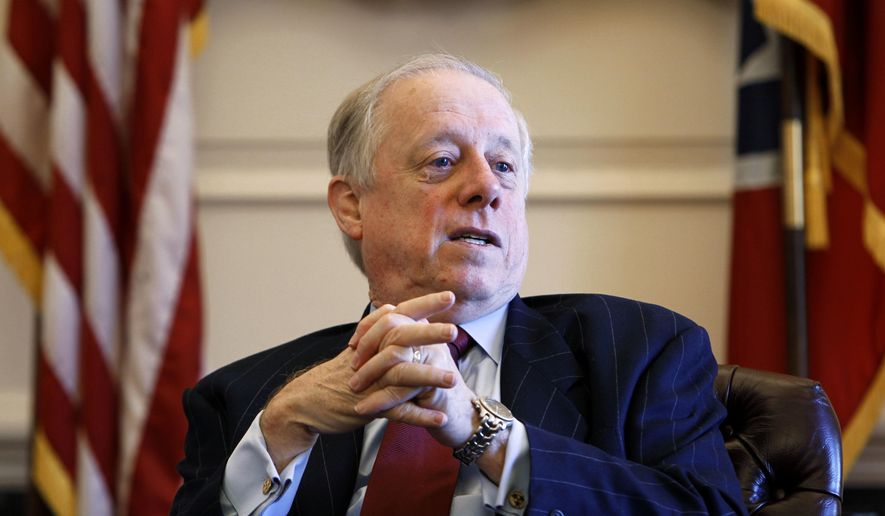 In this Dec. 13, 2010, file photo, then-Gov. Phil Bredesen talks about his eight years in office during an interview, in Nashville, Tenn. (AP Photo/Mark Humphrey, File)
