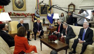 President Donald Trump accompanied by Vice President Mike Pence, speaks before a meeting with congressional leaders including House Speaker Paul Ryan of Wis., left, House Minority Leader Nancy Pelosi of Calif., Senate Majority Leader Mitch McConnell of Ky., Senate Minority Leader Chuck Schumer of N.Y., and Defense Secretary Jim Mattis, in the Oval Office of the White House, Thursday, Dec. 7, 2017, in Washington. (AP Photo/Alex Brandon)