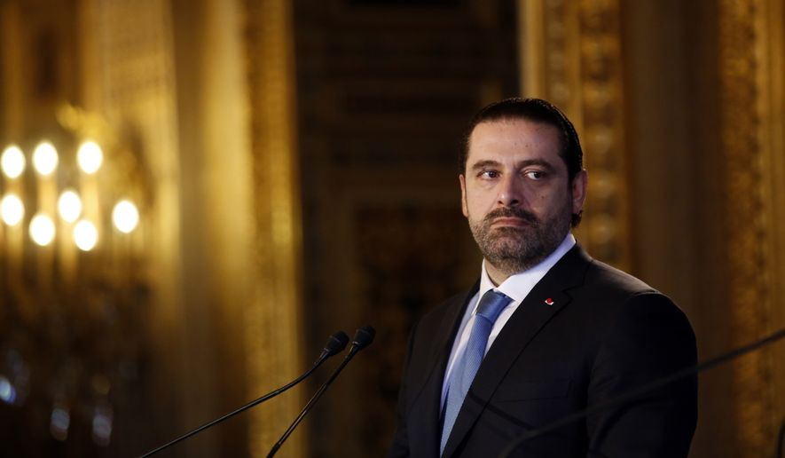 Lebanon's Prime Minister Saad Hariri attends a press conference as part of a summit convened by France to bolster Lebanon's institutions, in Paris, Friday Dec. 8, 2017. It is the first major gathering of key nations to discuss Lebanon's future since a crisis erupted following Hariri's shock resignation last month while in Saudi Arabia. Hariri has since rescinded his resignation. (AP Photo/Thibault Camus)