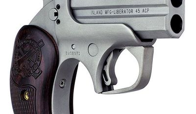 In the spirit of the FP-45 Liberator pistol developed by Inland Division of General Motors during WWII. Inland has partnered with Bond Arms to produce the new Inland Liberator 45 derringer chambered in .45 ACP with double barrels. This new over/under Liberator handgun has a bead-blasted anti-glare finish with wood grips.