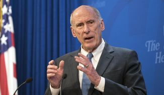 In this Oct. 13, 2017, file photo, Director of National Intelligence Dan Coats speaks at a Heritage Foundation event in Washington. (AP Photo/Kevin Wolf, File)