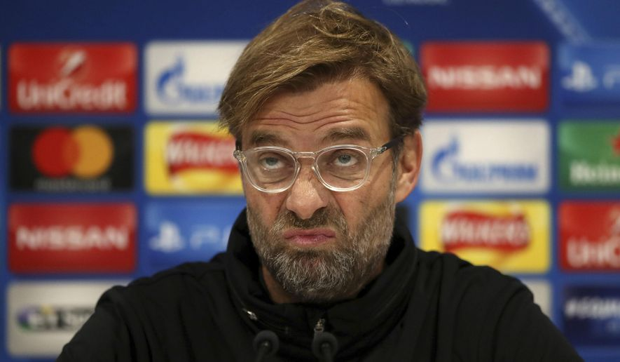 Liverpool manager Jurgen Klopp looks on during a press conference at Anfield, Liverpool, England, Tuesday, Dec. 5, 2017. Liverpool will play a Champions League Group E soccer match against Spartak Moscow on Wednesday. (Nick Potts/PA via AP)