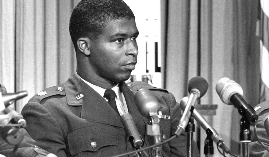 FILE - In this June 30, 1967 file photo, Maj. Robert H. Lawrence Jr., the first black astronaut in the U.S. space program, is introduced at a news conference in El Segundo, Calif. Lawrence was part of a classified military space program in the 1960s called the Manned Orbiting Laboratory, meant to spy on the Soviet Union. He died before ever flying in space when his fighter jet crashed on Dec. 8, 1967. (AP Photo)