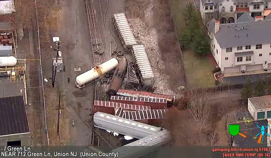 In this image taken from video and provided by WABC, a group of freight cars tangle up along the tracks after derailing in Union, N.J., Friday, Dec. 8, 2017. A Conrail spokesman tells NJ.com the CSX Transportation train was on its way to Selkirk, N.Y., when it derailed at about 1:30 p.m. Union police say no one was injured. (WABC via AP)