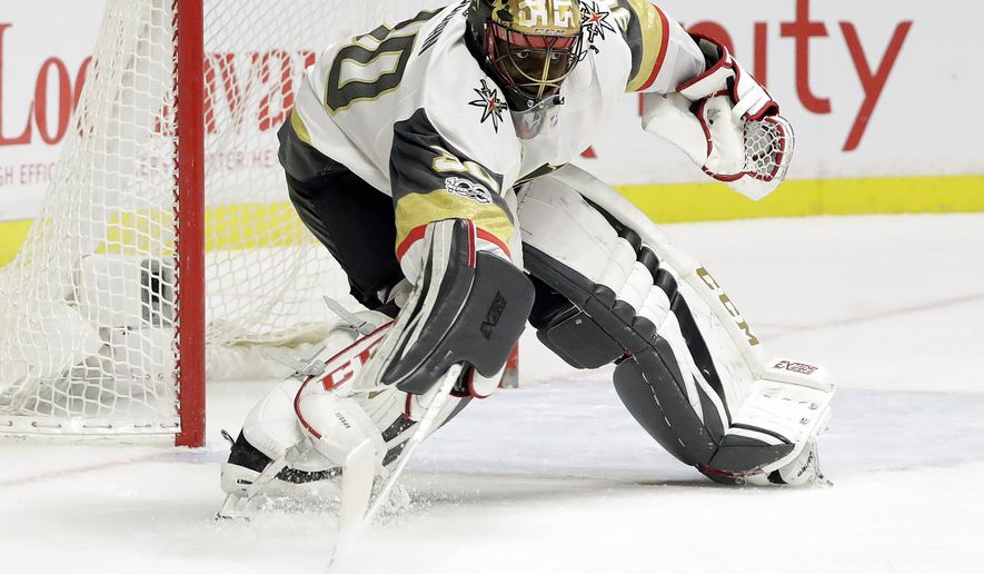 Vegas Golden Knights goalie Malcolm Subban makes a stop against the Nashville Predators during the second period of an NHL hockey game Friday, Dec. 8, 2017, in Nashville, Tenn. (AP Photo/Mark Humphrey)