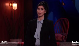 "Comedian Sarah Silverman addressed the topic of American nationalism during a monologue on her Hulu talk show Thursday night, describing the ""visceral reaction"" and fear she felt when an old boyfriend of hers hoisted an American flag on his own property. (Hulu)"