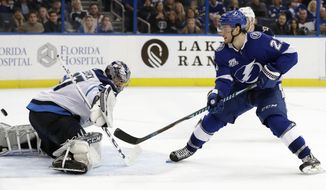 Tampa Bay Lightning center Brayden Point (21) flips the puck past Winnipeg Jets goalie Connor Hellebuyck (37) for a goal during overtime in an NHL hockey game Saturday, Dec. 9, 2017, in Tampa, Fla. The Lightning won 4-3. (AP Photo/Chris O'Meara)