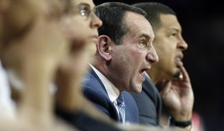 Duke head coach Mike Krzyzewski yells instructions from the bench during the first half of an NCAA college basketball game against Boston College in Boston, Saturday, Dec. 9, 2017. Boston College won 89-84. (AP Photo/Michael Dwyer)