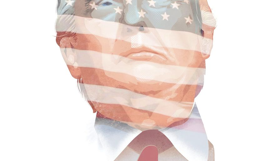 Illustration on Trump's abiding political philosophy by Linas Garsys/The Washington Times