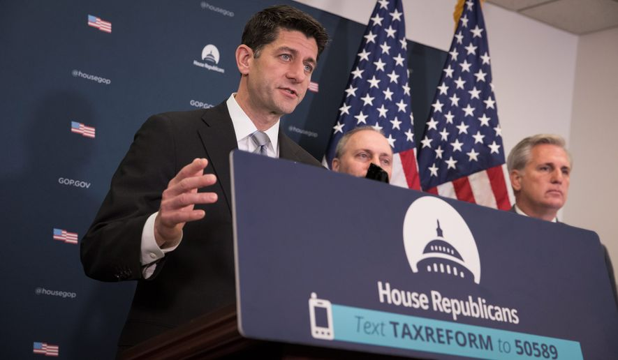 House Speaker Paul D. Ryan (left), Majority Whip Steve Scalise (center) and Majority Leader Kevin McCarthy hope to iron out differences with the Senate this week and hold a vote on the final compromise legislation next week for major tax reform. (Associated Press)