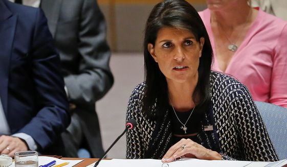 "Nikki Haley, ambassador to the United Nations, says the relocation of the U.S. Embassy will ""move the ball forward for the peace process."" (Associated Press/File)"