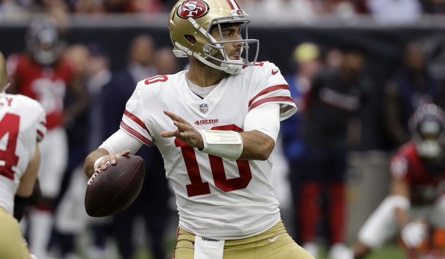 San Francisco 49ers quarterback Jimmy Garoppolo (10) throws against the Houston Texans during the first half of an NFL football game Sunday, Dec. 10, 2017, in Houston. (AP Photo/David J. Phillip)