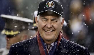 U.S. Secretary of State Rex Tillerson ahead of an NCAA college football game between the Army and the Navy, Saturday, Dec. 9, 2017, in Philadelphia. (AP Photo/Matt Rourke)