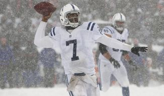 Indianapolis Colts quarterback Jacoby Brissett looks to throw during the second half of an NFL football game against the Buffalo Bills, Sunday, Dec. 10, 2017, in Orchard Park, N.Y. (AP Photo/Jeffrey T. Barnes)