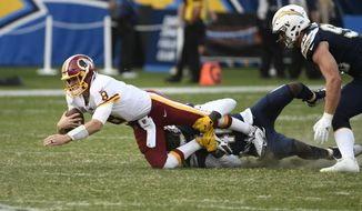 Washington Redskins quarterback Kirk Cousins is hauled down by Los Angeles Chargers defensive end Chris McCain for a sack during the second half of an NFL football game Sunday, Dec. 10, 2017, in Carson, Calif. (AP Photo/Denis Poroy)