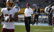 Washington Redskins head coach Jay Gruden looks on before an NFL football game against the Los Angeles Chargers Sunday, Dec. 10, 2017, in Carson, Calif. (AP Photo/Denis Poroy)