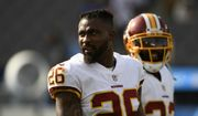 Washington Redskins cornerback Bashaud Breeland looks on before an NFL football game against the Los Angeles Chargers Sunday, Dec. 10, 2017, in Carson, Calif. (AP Photo/Denis Poroy)