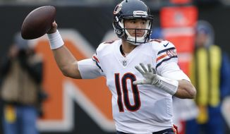 Chicago Bears quarterback Mitchell Trubisky passes in the first half of an NFL football game against the Cincinnati Bengals, Sunday, Dec. 10, 2017, in Cincinnati. (AP Photo/Gary Landers)