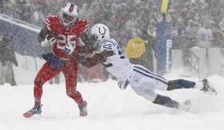 Indianapolis Colts outside linebacker Barkevious Mingo, right, tries to tackle Buffalo Bills running back LeSean McCoy during the second half of an NFL football game, Sunday, Dec. 10, 2017, in Orchard Park, N.Y. (AP Photo/Jeffrey T. Barnes)