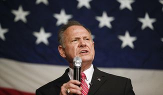 In this Dec. 5, 2017, file photo, former Alabama Chief Justice and U.S. Senate candidate Roy Moore speaks at a campaign rally in Fairhope Ala. (AP Photo/Brynn Anderson, File)