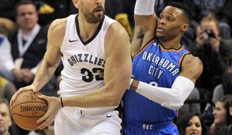 Memphis Grizzlies center Marc Gasol (33) controls the ball against Oklahoma City Thunder guard Russell Westbrook in the first half of an NBA basketball game Saturday, Dec. 9, 2017, in Memphis, Tenn. (AP Photo/Brandon Dill)