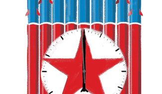 Illustration on the growing threat of nuclear crisis with North Korea by Linas Garsys/The Washington Times