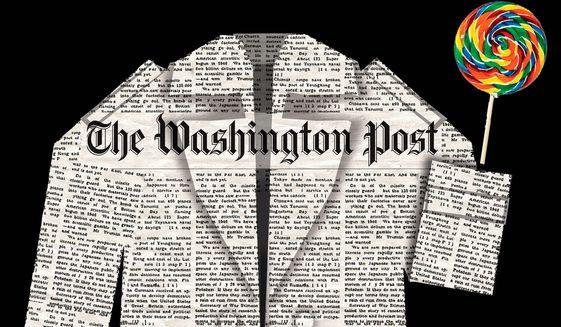 Illustration on The Washington Post's treatment by Alexander Hunter/The Washington Times