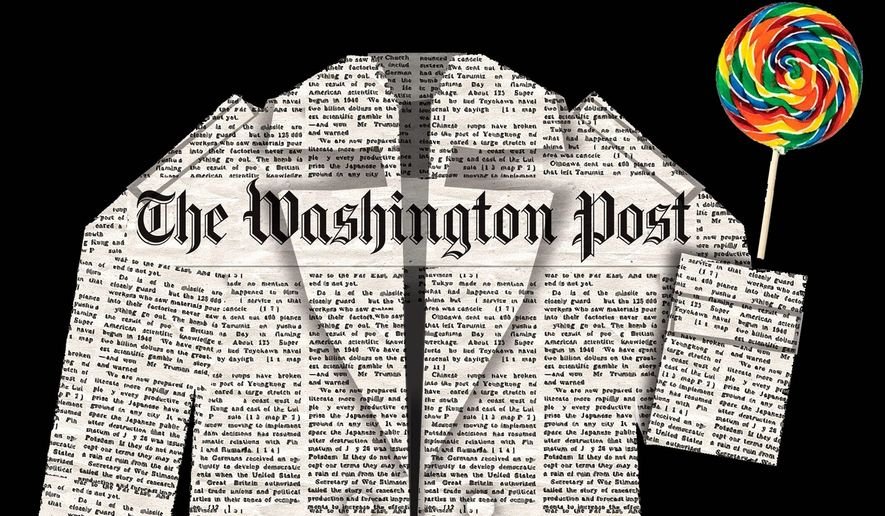 Illustration on The Washington Post's treatment by Alexander Hunter/The Washington Times